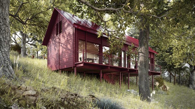 Villa mellan träden